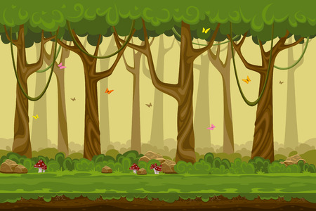 forest: Cartoon forest landscape, endless vector nature background for computer games. Nature tree, outdoor plant green, natural environment wood illustration