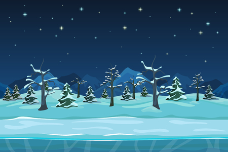 snow tree: Seamless cartoon winter night landscape. Snow tree, season drawing design, vector illustration