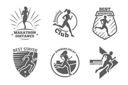 correr: Club de corredores Vintage etiquetas de vectores y emblemas. Formación silueta atlética, ilustración atleta plazo