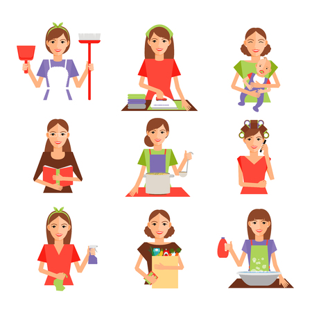 domestic: Set of housewife icon in flat style. Homemaker cleaning ironing cook wash and shopping. Vector illustration