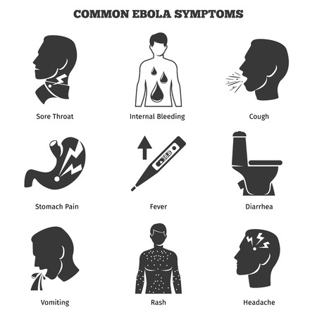 Ebola virus symptoms vector icons set. Medical and danger epidemic, infection and pain, headache and diarrhea, vomiting and cough illustration Illustration