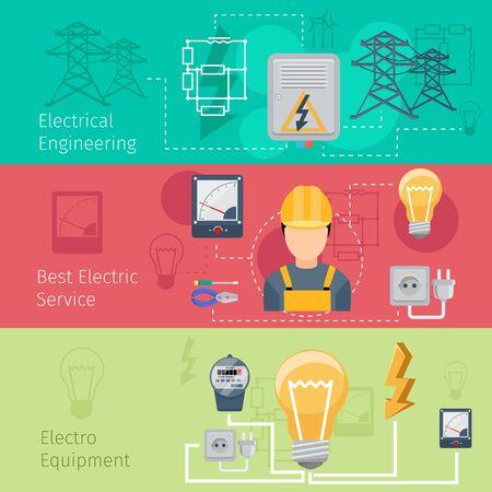 electricidad industrial: La electricidad y el sector de la energía banners horizontales conjunto de vectores. Cablec y energía, plug ingeniería, la tensión y la ilustración zócalo Vectores
