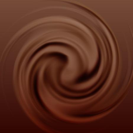 초콜릿 크림 소용돌이입니다. 달콤한 음식, 액체 코코아, 운동과 흐름, 벡터 일러스트 레이 션