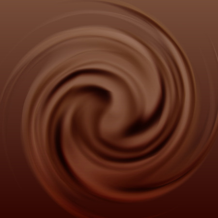 Chocolate cream swirl. Sweet food, liquid cocoa, motion and flow, vector illustration