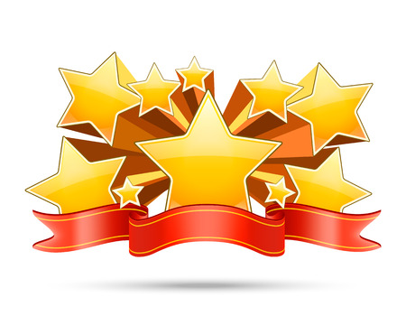 gold stars: Gold stars with red ribbon with space for your text. Award banner, decoration badge. Vector illustration Illustration
