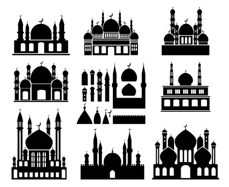 symetric: Islamic buildings silhouettes. Mosques and minarets with crescents
