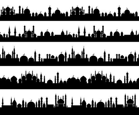 Islamic cityscape silhouettes with mosques and minarets with crescents on tops