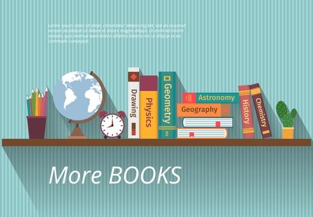 Boeken op boekenrek. Studie kennis, meubels en muur, tekstboek en informatie, encyclopedie wetenschap, vector illustratie