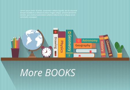 Books on bookshelf. Study knowledge, furniture and wall, textbook, and information, encyclopedia science, vector illustration Ilustração