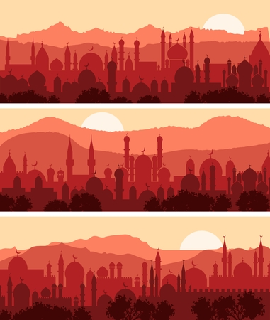 city silhouette: Muslim cityscapes, three background of traditional arab city