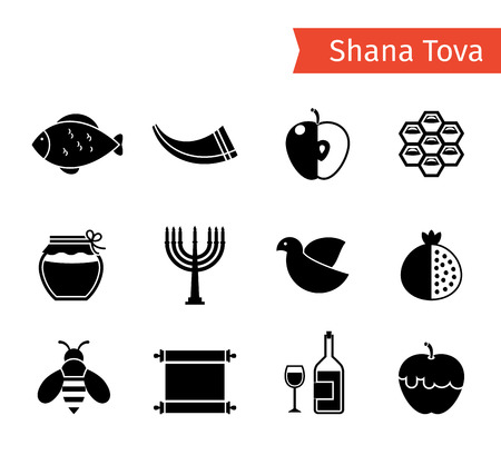 jewish faith: Rosh Hashanah, Shana Tova or Jewish New year black vector icons set