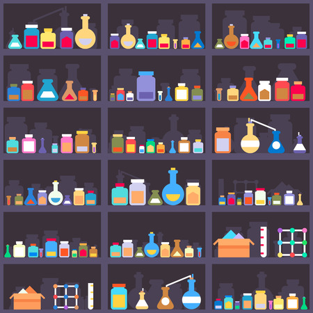 pharmacy store: Alchemical elixirs or chemicals and medications on cabinet shelves. Seamless background. Shop and container, assortment choice, warehouse and box. Vector illustration Illustration