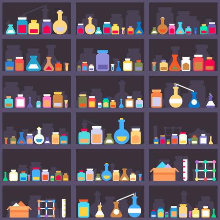 productos quimicos: Elixires alquímicos o productos químicos y medicamentos en los estantes del gabinete. De fondo sin fisuras. Tienda y contenedor, elección surtido, almacén y caja. Ilustración vectorial