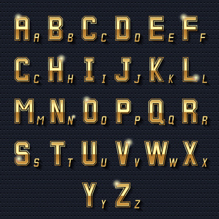 typeset: Vector retro golden alphabet. Graphic metal symbol, decoration type, typeset design shiny illustration