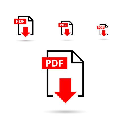 Pdf download icoon. Document tekst, symbool web-formaat informatie, vector illustratie