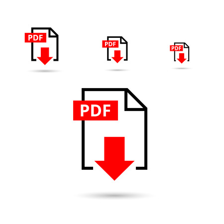 download icon: PDF file download icon. Document text, symbol web format information, vector illustration