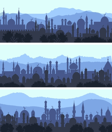 city night: Vector horizontal cityscape arab city night banners Illustration