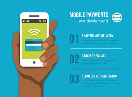 phone hand: Mobile Payments. Mobile phone in black man hand. Money finance banking, pay and buy, card credit, device communication, vector illustration