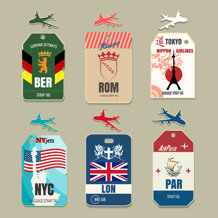 Vintage luggage tags. Label travel, vacation and tourism, vector illustration