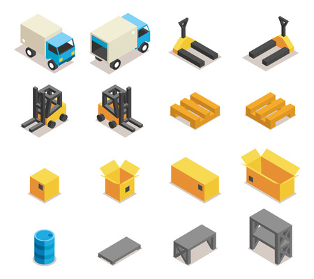 warehouse equipment: Warehouse equipment icon set. Transportation and forklift, cargo and box, logistic and delivery, vector illustration