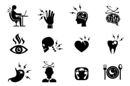 headache pain: Office syndrome effects icons set. Tooth heart neck eye pain, obesity and incorrect pose. Vector illustration