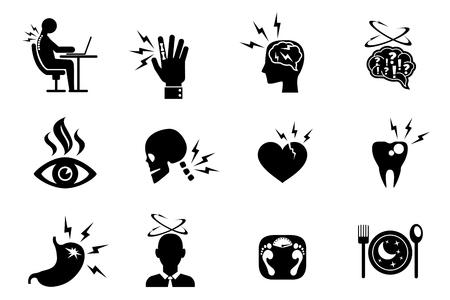 Office syndroom effecten iconen set. Tand hart nek pijn aan de ogen, obesitas en onjuiste pose. Vector illustratie