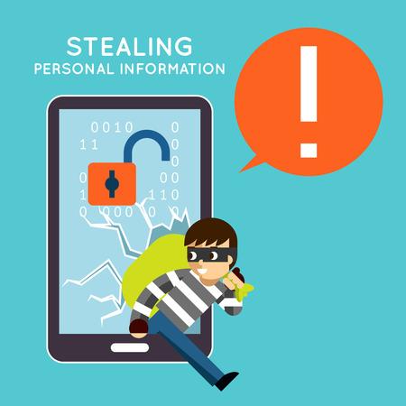 Robar información personal de su teléfono móvil. Protección y hacker, robo de delito, smartphone privacidad, ilustración vectorial