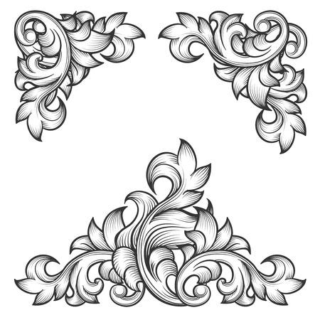 an engraving: Baroque leaf frame swirl decorative design element set. Floral engraving, fashion pattern motif, vector illustration