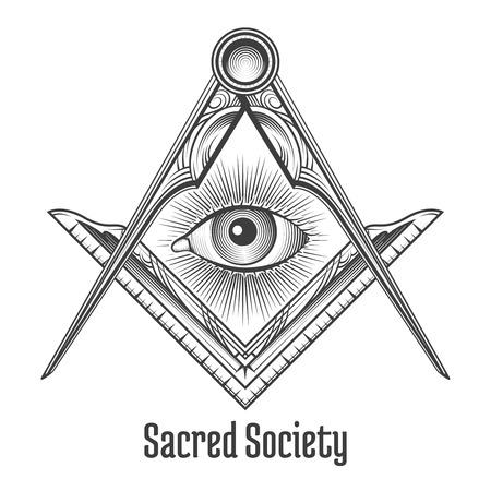 フリーメーソンの正方形およびコンパスのシンボル。神秘的な神秘的な難解な神聖な社会。ベクトル図