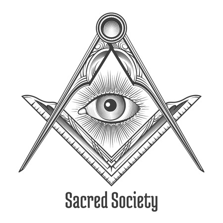 Maçónico do quadrado e símbolo do compasso. , Sociedade esotérica ocultismo místico sagrado. Ilustração do vetor Ilustração