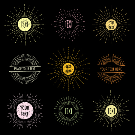 sunshine: Hand draw doodle sunbursts with place for text. Radial circle drawing,  hipster sunshine logo set. Vector illustration