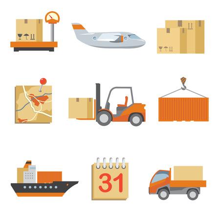 Iconos logísticos establecidos en el estilo plano de la vendimia. Camiones y transporte, la carga y el transporte, entrega caja. Ilustración vectorial
