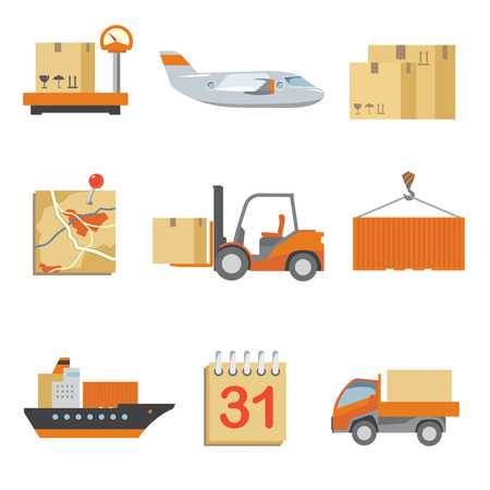 pallet: Logistics icons set in vintage flat style. Truck and shipping, cargo and transport, box delivery. Vector illustration Illustration