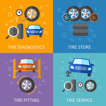 car tire: Tire service flat concepts vector set. Diagnostics and repair car banner illustration Illustration