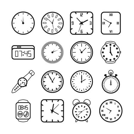 Tijd en klokken iconen set. Timer en alarm, tweede wijzer, digitale apparatuur, vector illustratie