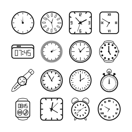 round the clock: Time and clocks icons set. Timer and alarm, second pointer, digital equipment, vector illustration Illustration