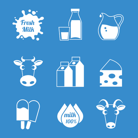 lacteos: La leche y los productos lácteos iconos frescos. Vaca y cabra, natural helado, la nutrición y el queso. Ilustración vectorial Vectores