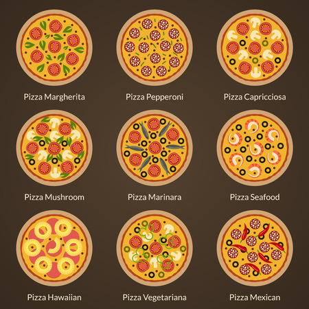 ham and cheese: Different type of pizza flat icons vector set. Appetizing pizza with different toppings