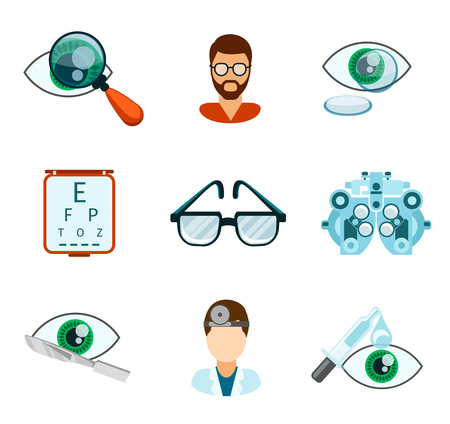 oculista: Optometría y iconos ópticos set plana. Pipeta y oculista, ojos analizar, oftalmología y tratamiento, ilustración vectorial Vectores