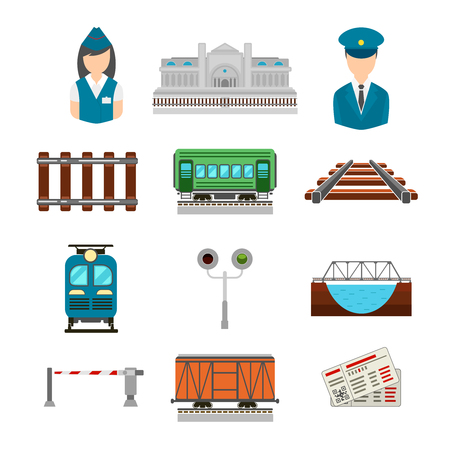 boxcar train: Vector set of railroad icons in flat style. Bridge and gate, ticket and railway station, driver and conductor, platform transportation illustration