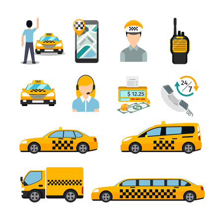 public service: Flat taxi icons. Transportation service. Cab and vehicle, automobile traffic business. Vector illustration