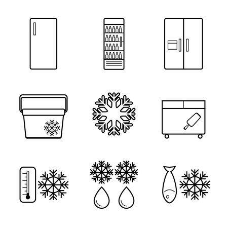 nevera: Iconos vectoriales línea nevera establecen. Equipo de cocina, congelación doméstica refrigerador ilustración