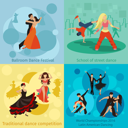 Dancing styles vector concepts set. People dance, ballroom festival, championship waltz or tango illustration