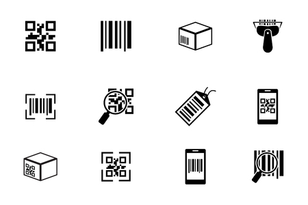 bars: QR code and Bar code icons set. Scan coding, sticker identification. Vector illustration