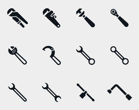 metal industry: Spanners icons set. Repair service, construction industry, object metal, vector illustration