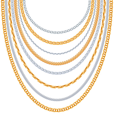 jewelry chain: Gold chains vector background. Silver hanging, link metallic shiny illustration
