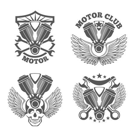 Vintage motorcycle labels, badges. Motorbike vector logo set. Wrench and engine, skull and cylinder illustration