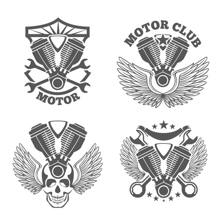 motors: Vintage motorcycle labels, badges. Motorbike vector logo set. Wrench and engine, skull and cylinder illustration