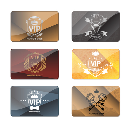 membership: VIP club members only premium cards vector set. Luxury golden, label membership exclusive illustration