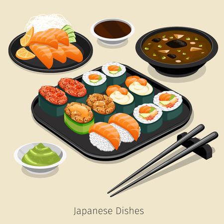 comida japonesa: Conjunto de la comida japonesa. Menú sabroso, el arroz y el rollo, los ingredientes y la salsa, ilustración vectorial